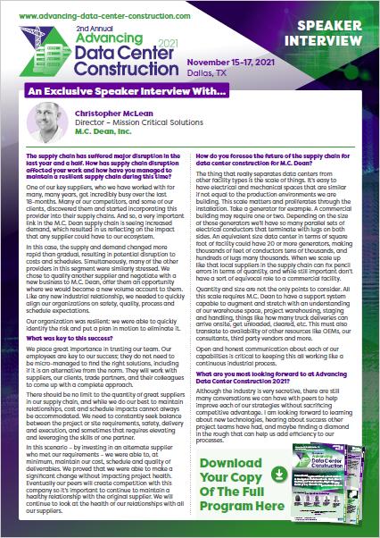Advancing Data Center Construction 2021 Interview - Christopher McLean, MC Dean